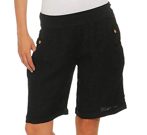 Sunyastor Harem Shorts for Women Casual Loose Solid Elastic High Waist Button Pocket Wide Leg Pants Short Black -