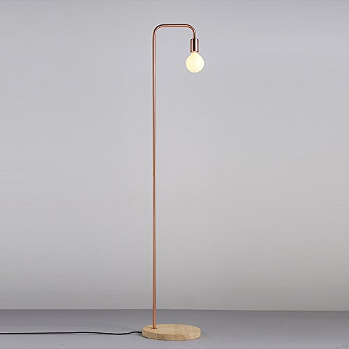 Retro Black Floor Lamp And Red Copper Metal Floor Lamp, Wood Base - With 6w LED Filament Lamp, Bedroom Bedside Living Room Coffee Table Decorative Sofa Floor Lamp ( Color : Red copper )