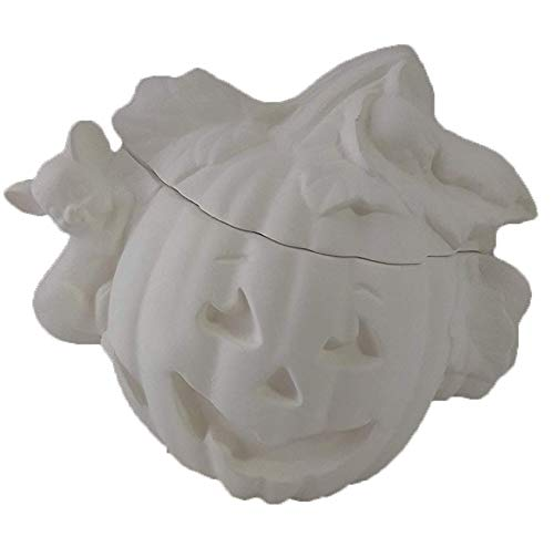 (Pumpkin Jar with Mouse on lid Ceramic Bisque, Ready to Paint, Glazed)