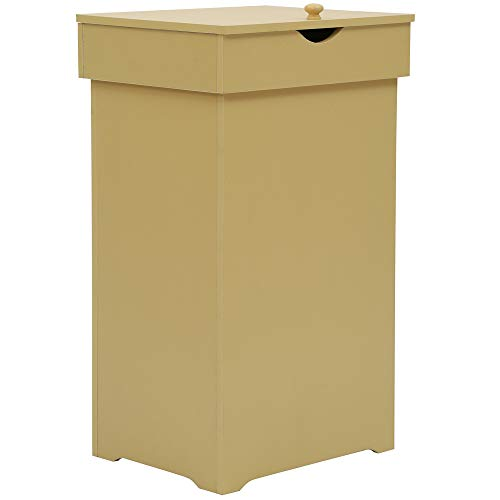 Home-Like Kitchen Trash Can Country CottageTrashcan Wood Trash Bin Country Style Garbage Can Wooden Trash Can In-Home Recycling Bins 13 Gallon Outdoor Trash Cans Recycle Bin Yellow 16''Wx13''Dx26.5''H