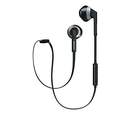 Earpiece Volume Control - Philips Wireless Headphones in-Ear Bluetooth Eaebuds with Microphone Richer Bass Sweatproof Earphones Volume Control Stereo Earpiece for Running Sports Gym Workout SHB5250