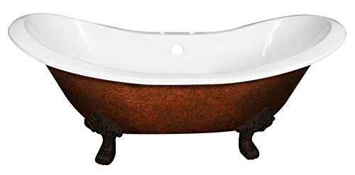 Cambridge Plumbing DES-7DH-ORB-CB Cast Iron Double Ended Slipper Tub, 71