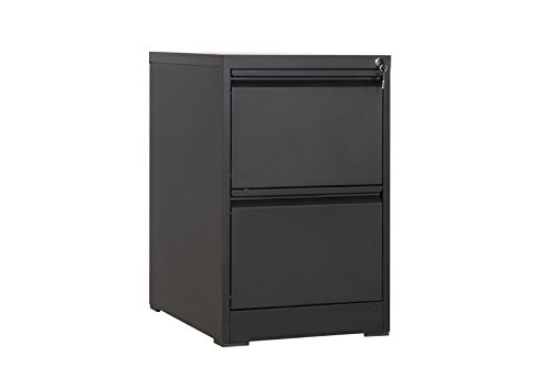 MMT Furniture Designs Black Steel Desk Height Vertical Filing cabinet unit, 2 pull out lockable drawers -Desk Extension 73cm tall - Flat pack easy to follow instructions and video - 600mm deep FC-D2Ablack