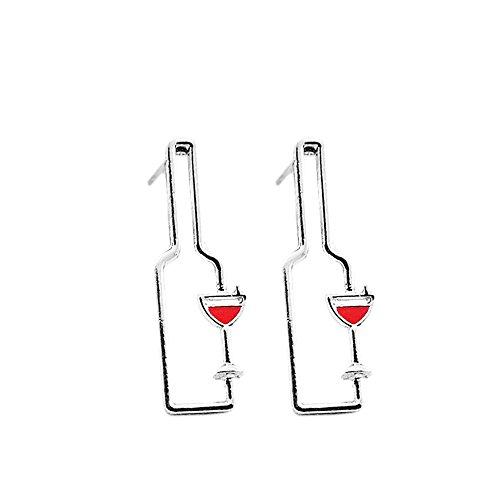 MUZHE Hollow Wine Bottle Stud Earring - Temperament Wine Bottle Long Studs Earrings (Silver)