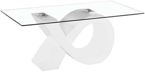 Fab Glass and Mirror Modern Coffee, Dining Room Glass Table, 43, White