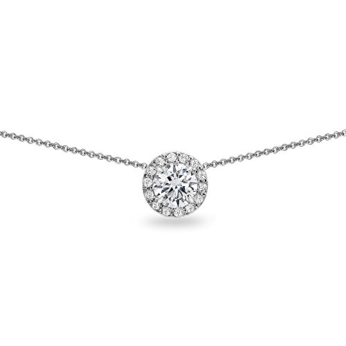 - Sterling Silver Cubic Zirconia Round Halo Slide Choker Necklace
