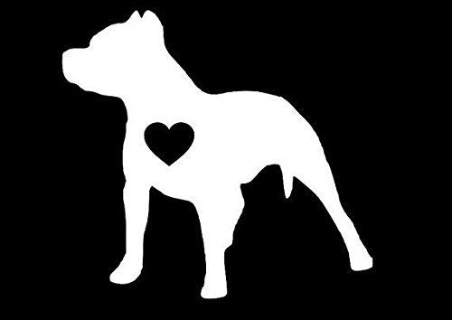Pitbull Heart WHITE Vinyl Car/Laptop/Window/Wall Decal