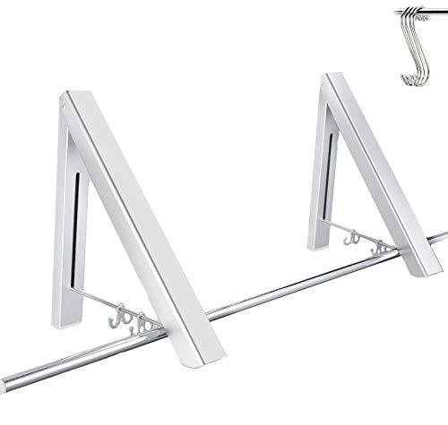 (GADENT Folding Clothes Hanger, Drying Rack, Wall Mounted Retractable Clothes Rack, Aluminum, Home Storage Organiser Space Savers, Easy Installation (2 pack, with 4 hooks))