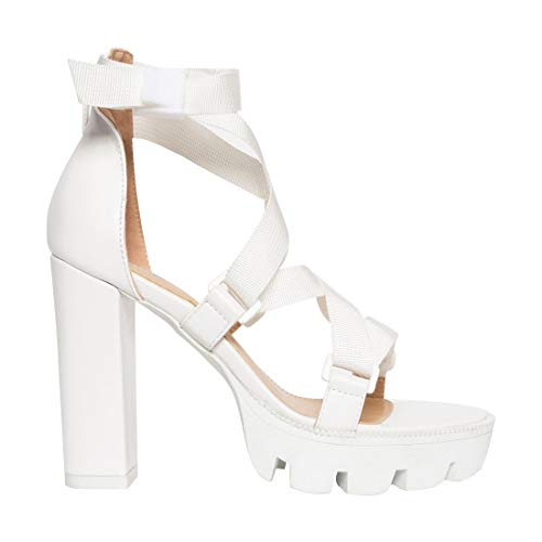 OLCHEE Women's Fashion Ankle Strap Block Heel Sandals - Open Toe Platform High Heels - White Cross-Strap Lycra, Size 8 ()