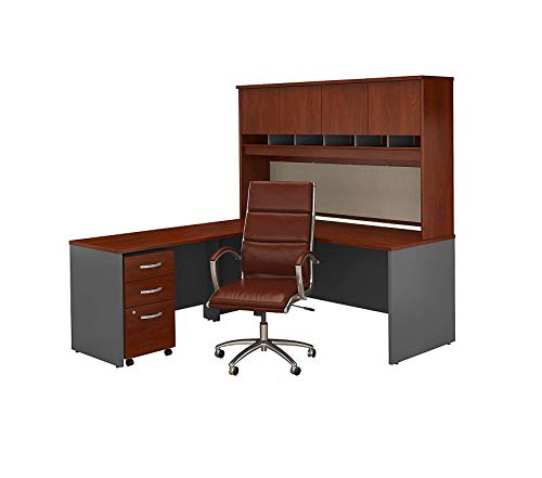 - Wood & Style Furniture L Shaped Desk with Hutch Mobile File Cabinet and High Back Office Chair in Hansen Cherry Premium Office Home Durable Strong