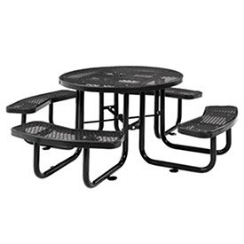 46' Expanded Metal Round Picnic Table, Black