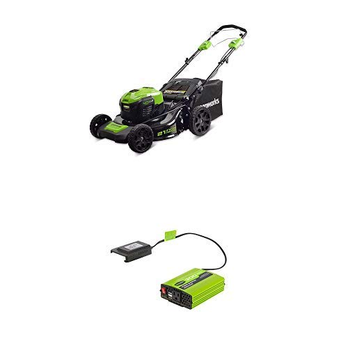 Greenworks 21-Inch 40V Self-Propelled Cordless Lawn Mower with 40V 300W Cordless Power Inverter IV40A00 21' Self Propelled Mower