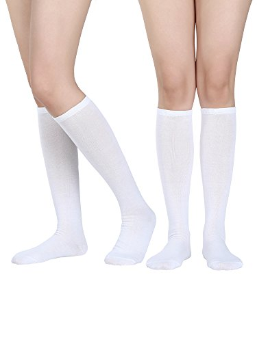 Satinior Women Knee High Socks Soft Boot Socks Cosplay Socks for Party, Halloween, School, One Size (White, 2 Pack)