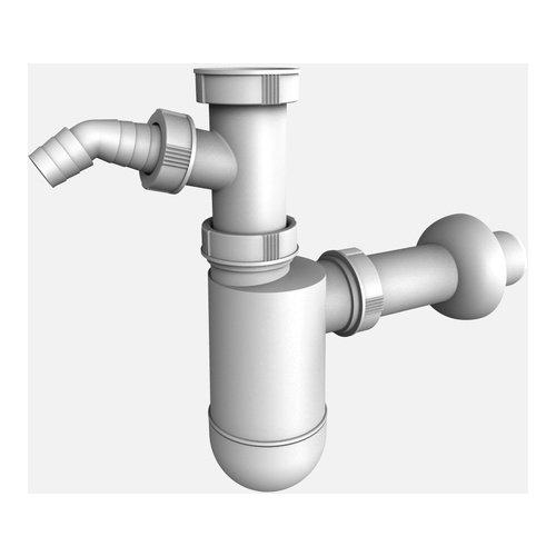 Flaschensiphon weiß mit Geräteanschluss Sanit