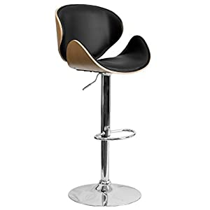 Flash Furniture Beech Bentwood Adjustable Height Barstool with Curved Back and Black Vinyl Seat
