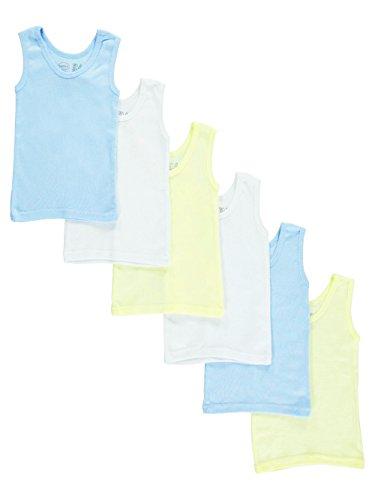 bambini Baby Boys Girls Unisex 6-Pack Sleeveless T-Shirts Tanks, White, Yellow, Blue, Large 27-34 Lbs (Tank Bambini Top)