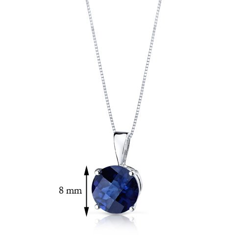 Revoni 14ct or blanc 585/1000 Coupe ronde 2.50 Carats saphir bleu pendentif Collier
