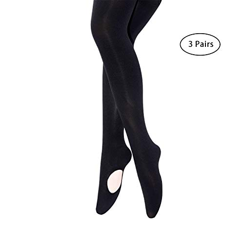 MANZI Women's Solid Color Comfortable Convertible Ballet Tights 3 Pairs Pack (L/XL,Black) for $<!--$13.99-->