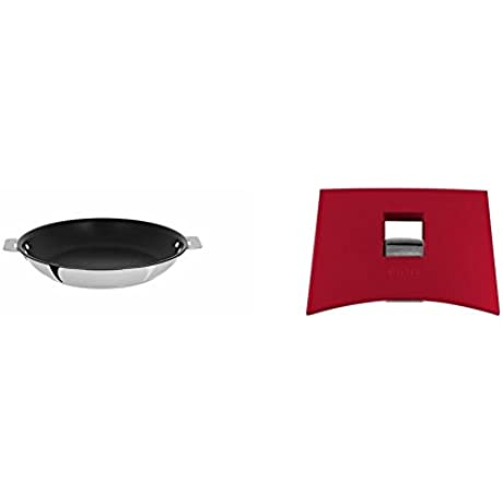 Cristel Casteline P20QMPE Fryingpan 8 Silver With Cristel Mutine Plmaf Side Handle Raspberry
