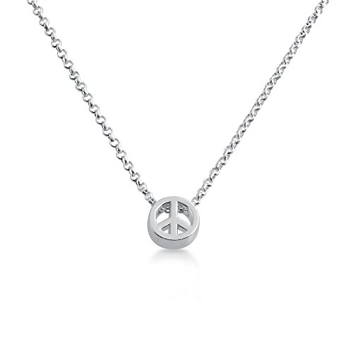 Peace Sign /Peace Symbol Bead Pendant Necklace 14k Plated or 925 Sterling Silver (sterling-silver, 20 Inches) (Silver Necklace Sterling Peace Sign)