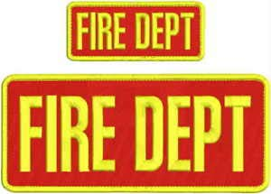 FIRE DEPT Embroidery Patch 4X10 & 2X5 Hook ON Back RED/Yellow by HighQ Store (Fire Embroidery Dept)