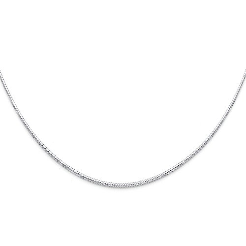 Ioka Jewelry - 14K White Gold 1.5mm Sparkle Omega Necklace - 17