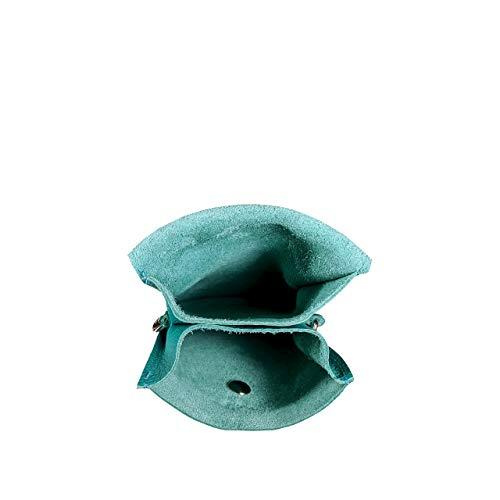SKUTARI® Leder MAIDA Damen Handytasche aus hochwertigem Echt-Leder,Umhängetasche,Geldbörse, Lederhandytasche mit extra langem Gurt, handgefertigt in Italien (13cm x 19cm x 3 cm, Turchese)