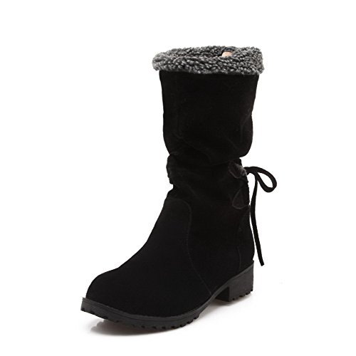 Allhqfashion Women's Low-Heels Solid Closed Round Toe Frosted Pull-on Boots Black dUZTE7TnG