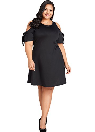 Jose Pally Women Plus Size Cold Shoulder Midi Dress Casual Jersey Swing Dress for Evening Party by Jose Pally
