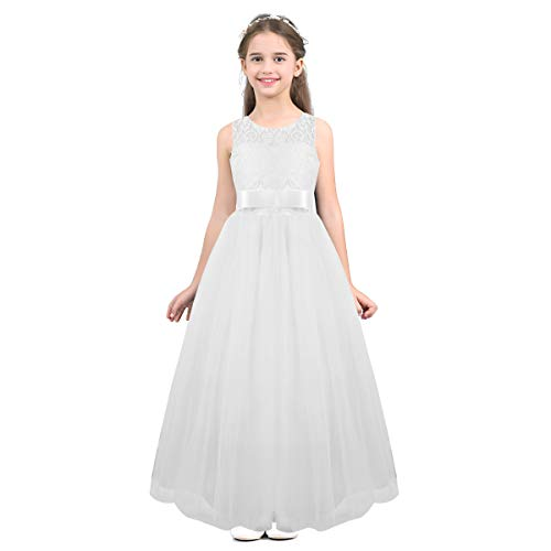 TiaoBug Kids Girls Tulle Lace Bridesmaid Flowe Girl Dress A Line Wedding Pageant Party Long Dresses Gown White 12-14 ()
