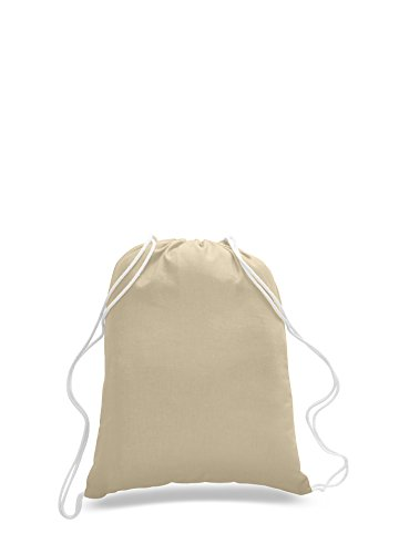Pack of 2 - Eco-Friendly Reusable Drawstring Bag Natural Eco-Friendly Economical 6 oz. Cotton Canvas Drawstring Bag Cinch bags size 14