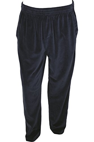 Solid Navy Blue Mens Velour Track Pants with Piping (X-Large)