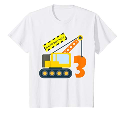Kids 3rd Birthday Excavator Shirt Age 3 Yr Old Boy Truck ()