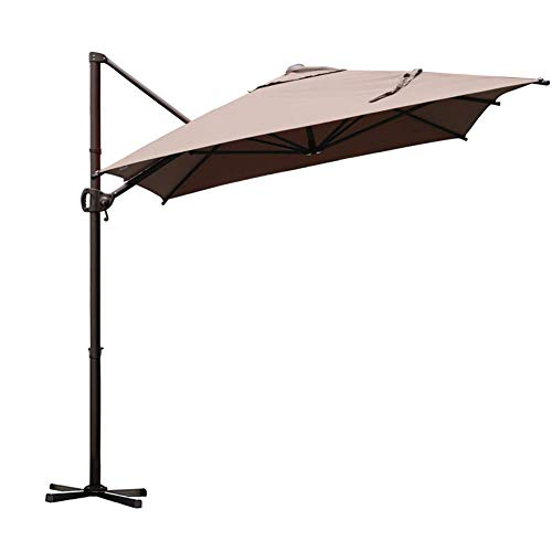 Abba Patio Offset Cantilever 9 by 7-Feet Rectangular Patio Hanging Umbrella with Cross Base, Cocoa