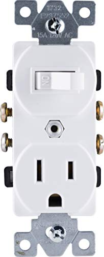 (GE Wall Switch & Outlet Combo, Two-in-One Receptacle, 1 On/Off Toggle Power Switch, 1 Grounded AC Outlet Wall Plug, Single Pole, 3 Prong, 15 Amp, UL Listed, White, 59797 )