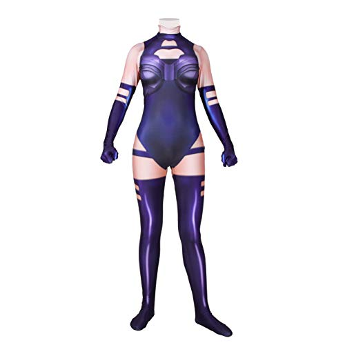Superhero Cosplay Costume for Womens Halloween Full Set Bodysuits Zentai 3D Style Jumpsuit (Adult-XXXL, Psylocke)