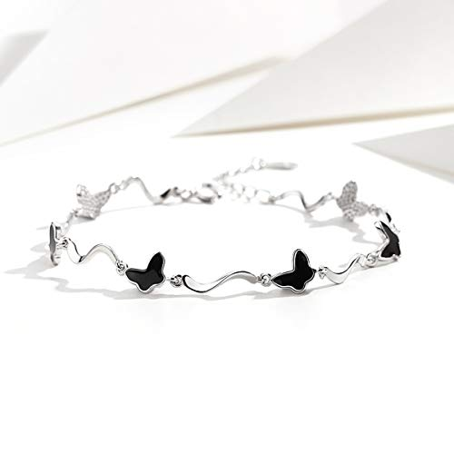 (VANA JEWELRY Butterfly Bracelet 925 Sterling Silver Black Butterfly Link Bracelet Black White Gold Plated Women Girls Fashion Jewelry Gift for Her Anniversary Birthday Party Presents)