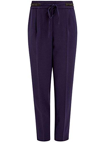 oodji Ultra Mujer Pantalones Rectos con Elástico Azul (7929B)