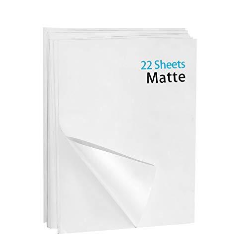 "Printable Vinyl Sticker Paper-22 Matte White Waterproof Decal Paper Sheets- Standard Letter Size 8.5""x11"""