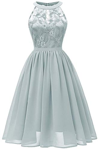 Women Sleeveless Halter Lace Bridesmaid Prom Party Dress F10 (Green, M)