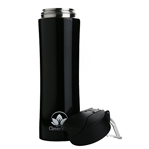 Clever Yoga Stainless Steel Double Wall Vacuum Insulated Water Bottle Leak and Sweat Proof Keep Drinks Hot Cold for Gym Office Sports Hiking Travel 15oz (Black)