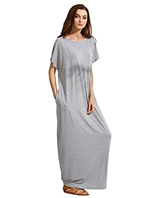 Verdusa Women's Summer Casual Loose Long Dress Short Sleeve Pocket Shift Maxi Dress