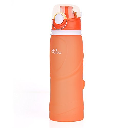 MoKo Collapsible Water Bottle, 750ml Unbreakable Foldable Leak Proof Silicone Sports Bottle, Medical Grade Silicone, BPA Free, FDA Approved
