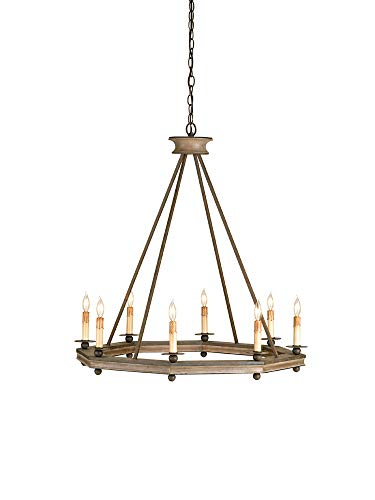 Currey and Company 9799 Bonfire - Eight Light Chandelier, Antique Rust/Washed Wood Finish
