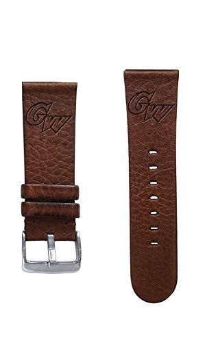 Affinity Bands George Washington University Colonials 22mm Premium Leather Watch Band - Compatible with Samsung, Garmin, Fossil Fitbit and More.