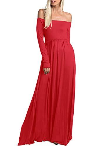 Long Casual Sleeve Womens Red Pocket Maxi Off Dress Long Shoulder with Amoretu qHwax6BS6