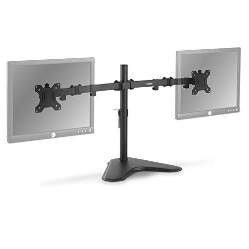 "VonHaus Dual Monitor Stand – 13-32"" Screen Mounting Bracket – Free Standing Desk Mount with ±45° Tilt & ±180° Swivel Adjustment – 17.6lbs Per Arm"