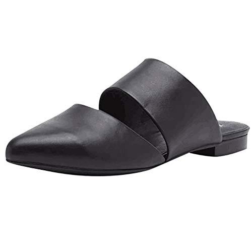 LIM&Shop Women Retro Backless Slip On Loafer Flats Low Heel Mule Dress Shoes Loafers Pointy Toe Clogs Slide Slipper Black ()