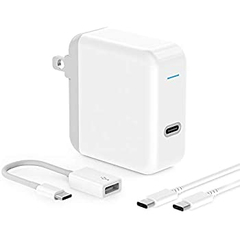 USB C Charger for 2018 iPad Pro 12.9, 11, MacBook Pro, MacBook Air, MacBook 12 inch, Samsung S10, S9, 45W Thunderbolt 3 Port USB C Power Adapter with ...