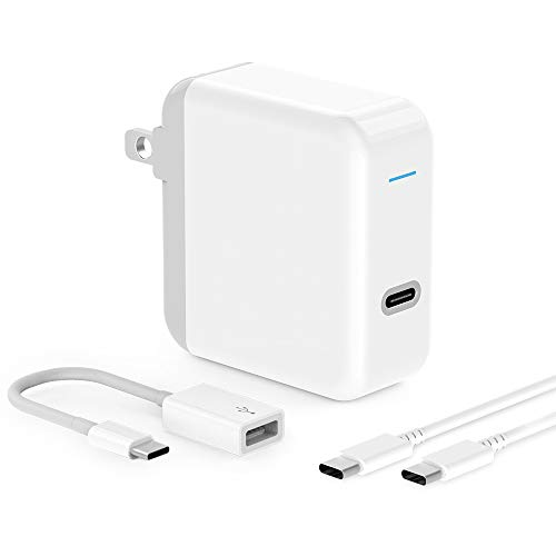 USB C Charger for iPad Pro 2018 12.9, 11, MacBook Pro, MacBook Air, MacBook 12 inch, iPhone, Sam. 45W Thunderbolt 3 Port USB C Power Adapter with USB Type C to USB 3.0 Adapter, 6.6ft USB C-C Cable (Best Charger For Ipad Air)